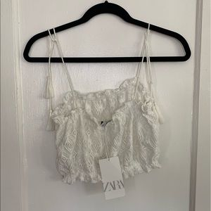 *NWT* Zara lace Cropped Tank with Tie Rope Sleeves